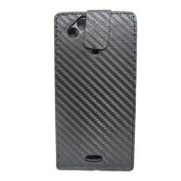 Quality Carbon Fiber Leather Flip Case For Sony ericsson X12 for sale