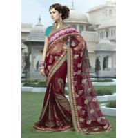 Quality Maroon Color Net and Viscose Saree for sale