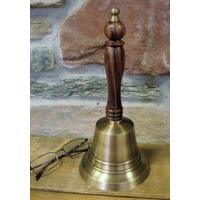 China Large Antiqued Brass Hand Bell 11 Inch on sale