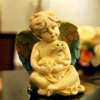Buy cheap 820086 Cream colored cherub with dog from wholesalers
