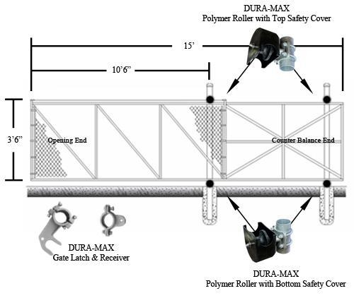 Dura Max Cantilever Slide Gate Kit 4 X 10 1 22 M X 3 05