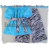 China Newborn Baby Girls Boutique Aqua and Zebra Outfit Set on sale