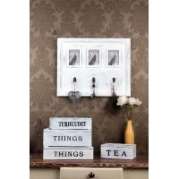 Quality Wooden Wall Decoration wooden white distressed frame and hooks for sale