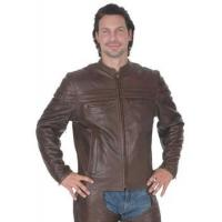 Brown Leather Mandarin Jacket