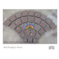 Quality Porphyry Cobblestone Paver Tumbled Red Porphyry Cobblestone On Mesh Europe Fan Pattern for sale