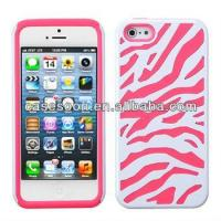 Zebra Hybrid Silicone Hard Case Cover For iPhone 5 5G