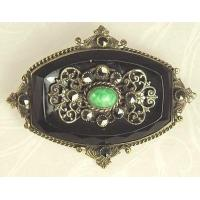 Quality Unsi Lovely Antique Black Glass and Filigree Pin for sale