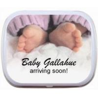 Personalized Mint Tins- Baby Feet Pink or Blue Pants Item# babypants