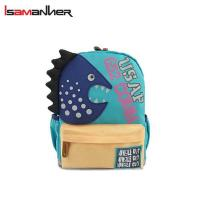 China Cartoon canvas shark baby backpack for baby 1 to 3 years old on sale