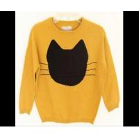 China Pretty baby yellow round neck knitted sweater with black cat printer on sale