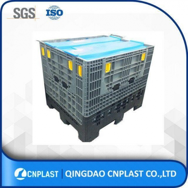 China bulk HDPE industrial foldable plastic large container with drop doors