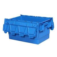600mm X 400mm X 315mm(56L)high Quality Moving Nestable Plastic Tote Box with Attached Lid