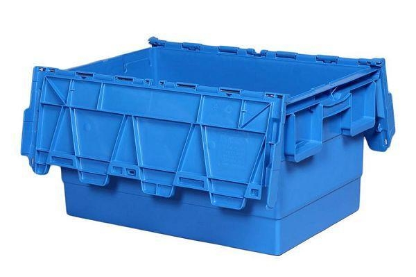China 600mm X 400mm X 315mm(56L)high Quality Moving Nestable Plastic Tote Box with Attached Lid