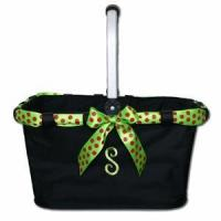 Quality Monogrammed Market Tote with Festive Ribbon for sale