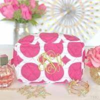 Quality Monogrammed Quilted Cosmetic Bag - Large Dots Pink for sale