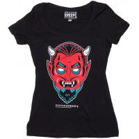 Womens Clothing Creepy Devil Ladies Fitted Scoop Neck T-Shirt
