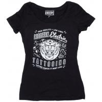 Womens Clothing Modern Electric Tattooing Ladies Fitted Scoop Neck T-Shirt