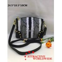 PU Leather Women Bowler Bags in Black and White Pattern