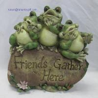 Quality RK12GD007 10 Inch Polyresin Three Fat Frogs Sitting on Friends Gather Here Stone for sale