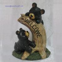 Quality RK12GD008 9 Inch Black Resin Couple Of Bear Statue With Welcome Sign for sale