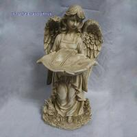 China RK12GD004 16 Inch Ivory Polyresin Angel Holding Leaf Statue on sale