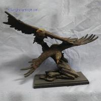 RK12ST008 15 Inch Hand Paint Accent Resin Eagle Family Statue
