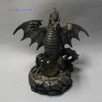 Quality RK12ST002 8 Inch Grey Resin Dragon Statue With Ball for sale