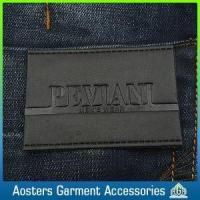Quality Custom Design Embossed Sew on Black Leather Label for Clothing for sale