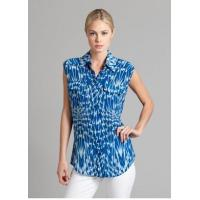 Womens Summer Dazzling Zig-zag Pattern Front Pockets Sleeveless Shirt in Blue