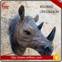 Quality Animal Statues Artificial 3D polyresin wall art rhinoceros decoration for sale