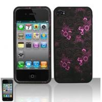 iphone3g bling case Purple Flowers Design Water Transfer Rubberzied Cover for iPhone4/iPhone4S