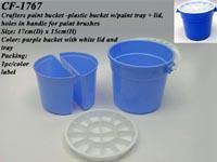 Quality Crafters paint bucket - plastic bucket w/paint tray + lid, holes in handle for paint brushes for sale
