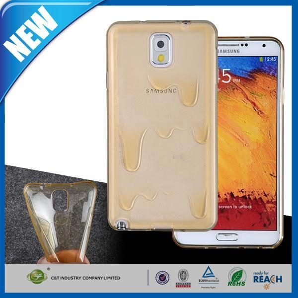 China C&T Hot CLEAR WHITE Melt Ice cream Rubber TPU Case Skin Cover for Samsung Galaxy Note 3 N9000