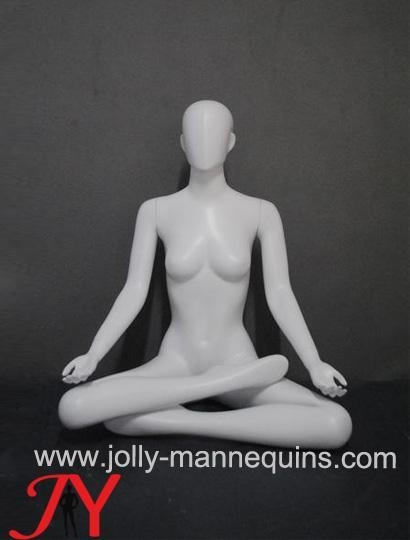 Buy Jolly mannequins-White color sports -seated cross legs female yoga mannequin EW-081 at wholesale prices
