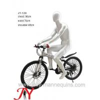 Jolly mannequins- white glossy color egghead male sport mannequin riding bike pose JY-129