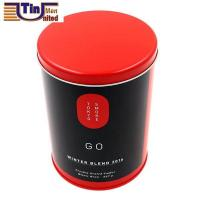 Quality PMS Large and PMS Red Middle Round Tea Storage Arch Lid Tin Canister for sale