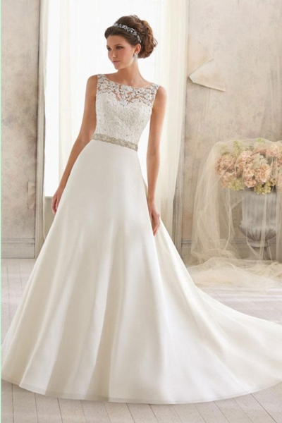 images of 2015 a line skirt lace chiffon wedding dress