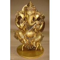 Quality Lord Ganesh Brass Statue Sitting on Rat for sale