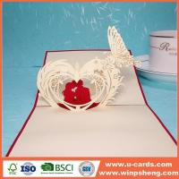 Quality Handmade Card Birthday Pop Up Flower Heart Greeting Card Template for sale