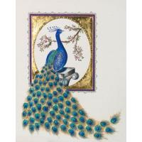 Gilded Peacock Greeting Card with Swarovski Crystals Limited Edition Signature