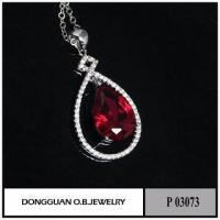China Necklaces White Gold Necklace With Pendant White Ruby Jewellery Set Ruby Gemstone on sale