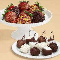Quality Gourmet Gifts & Sweets 10 Dipped Cherries & Half Dozen Autumn Strawberries for sale