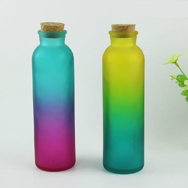 350ml color glass bottle with cork for juice tea of for Colored glass bottles with corks