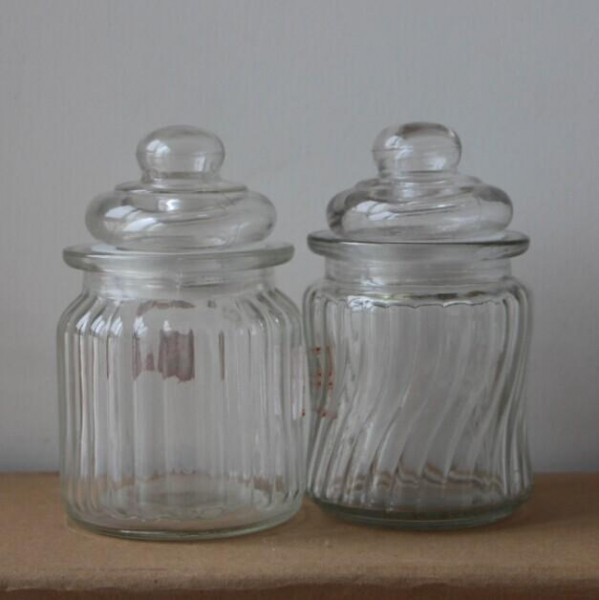 Buy 280ml small glass candy jar with glass lid wholesale at wholesale prices