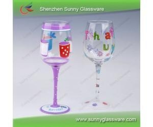 2013 Unique Design Hot Hand Painted Wine Glasses Of