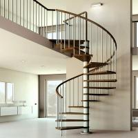 Indoor solid wood treads spiral staircase for sale