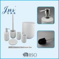 6 pcs white ceramic bathroom accessories with trash bin of for Ceramic bathroom bin