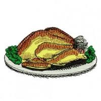 Quality Cooked Turkey Dinner Embroidery Design for sale