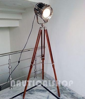 Images of vintage tripod lamp floor spot searchlight for Tripod spotlight floor lamp india
