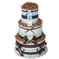 """Quality Undecorated Diaper Cakes Simple """"B"""" for Boy Diaper Cake for sale"""
